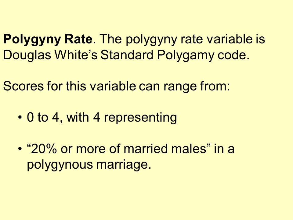 Polygyny Rate.The polygyny rate variable is Douglas White's Standard Polygamy code.