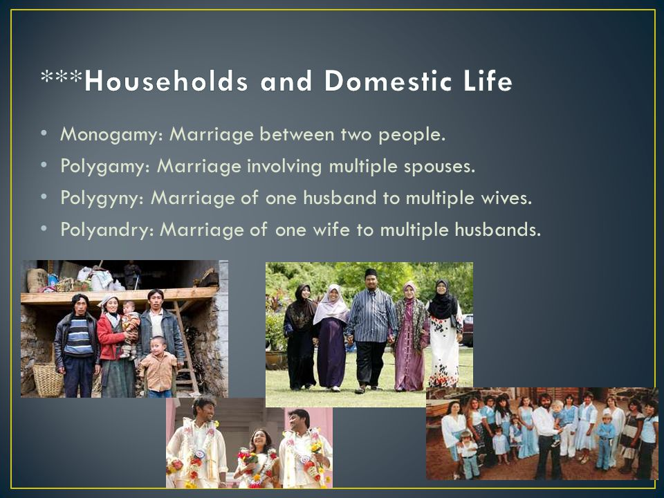 Monogamy: Marriage between two people.Polygamy: Marriage involving multiple spouses.