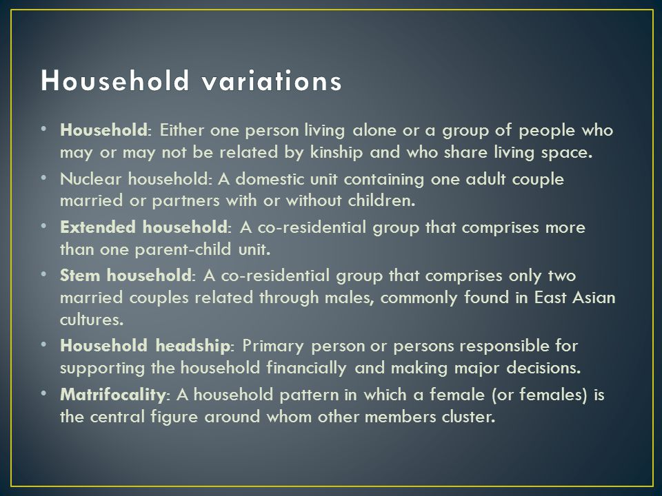 Household: Either one person living alone or a group of people who may or may not be related by kinship and who share living space.