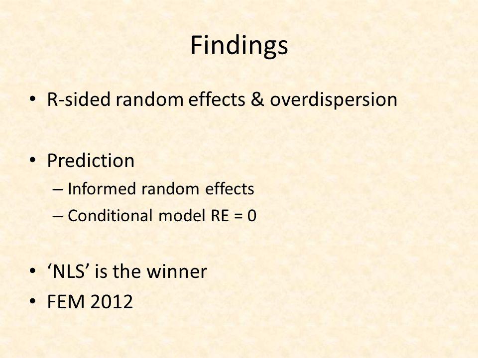 Findings R-sided random effects & overdispersion Prediction – Informed random effects – Conditional model RE = 0 'NLS' is the winner FEM 2012