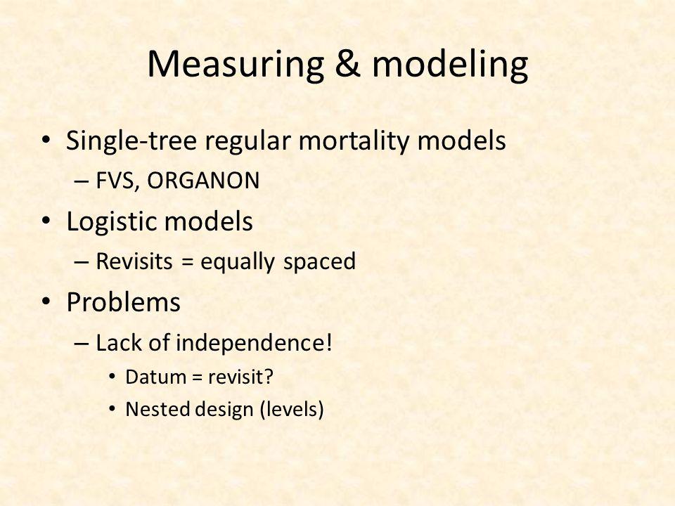 Measuring & modeling Single-tree regular mortality models – FVS, ORGANON Logistic models – Revisits = equally spaced Problems – Lack of independence!