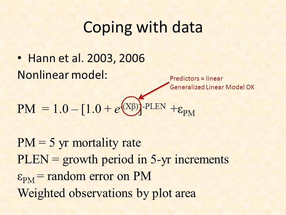 Coping with data Hann et al. 2003, 2006 Nonlinear model: PM = 1.0 – [1.0 + e -(Xβ) ] -PLEN +ε PM PM = 5 yr mortality rate PLEN = growth period in 5-yr