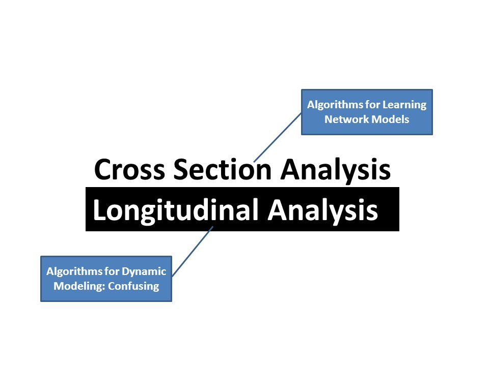Cross Section Analysis Longitudinal Analysis Algorithms for Learning Network Models Algorithms for Dynamic Modeling: Confusing