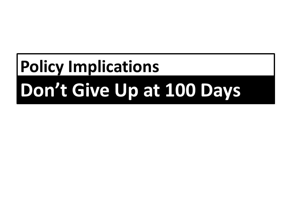 Policy Implications Don't Give Up at 100 Days