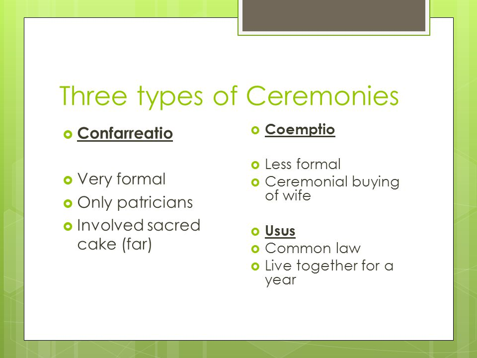 Three types of Ceremonies  Confarreatio  Very formal  Only patricians  Involved sacred cake (far)  Coemptio  Less formal  Ceremonial buying of wife  Usus  Common law  Live together for a year