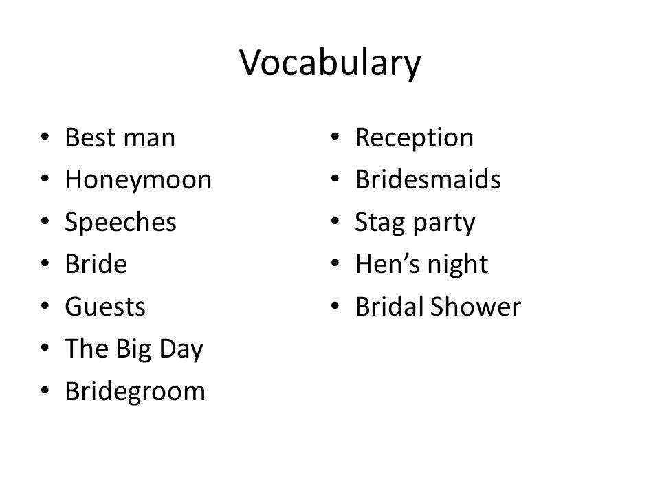 Presentation With your partner, make a presentation describing wedding ceremonies in China.