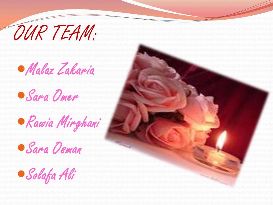 OUR TEAM: Malaz Zakaria Sara Omer Rawia Mirghani Sara Osman Solafa Ali