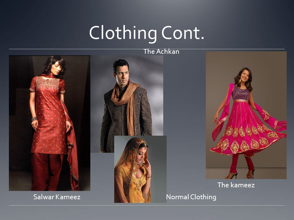Clothing Cont. Salwar Kameez The Achkan The kameez Normal Clothing