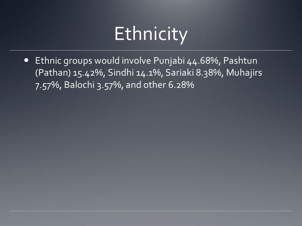 Ethnicity Ethnic groups would involve Punjabi 44.68%, Pashtun (Pathan) 15.42%, Sindhi 14.1%, Sariaki 8.38%, Muhajirs 7.57%, Balochi 3.57%, and other 6.28%