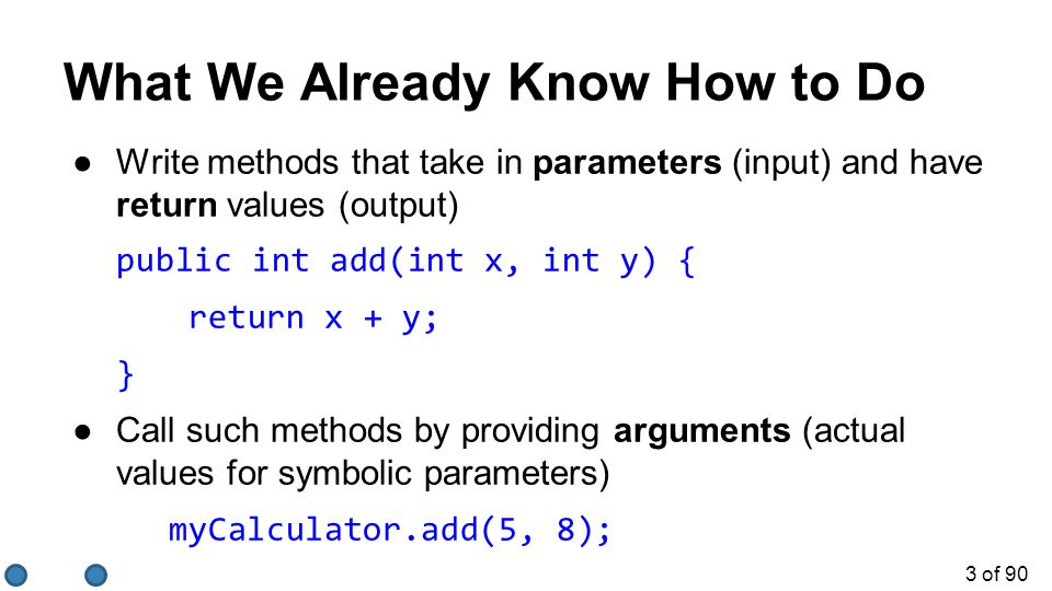 3 of 90 ●Write methods that take in parameters (input) and have return values (output) public int add(int x, int y) { return x + y; } ●Call such methods by providing arguments (actual values for symbolic parameters) myCalculator.add(5, 8); What We Already Know How to Do
