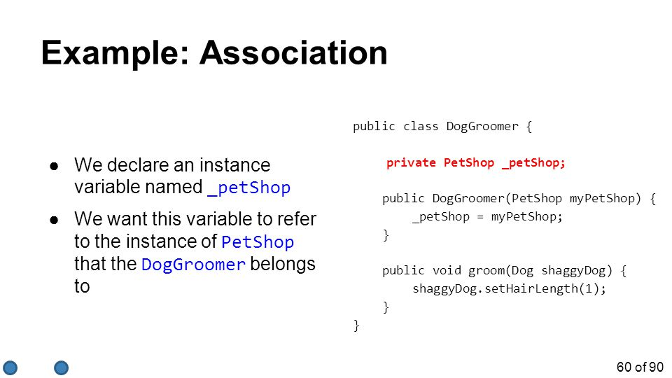 60 of 90 Example: Association ●We declare an instance variable named _petShop ●We want this variable to refer to the instance of PetShop that the DogGroomer belongs to public class DogGroomer { private PetShop _petShop; public DogGroomer(PetShop myPetShop) { _petShop = myPetShop; } public void groom(Dog shaggyDog) { shaggyDog.setHairLength(1); }