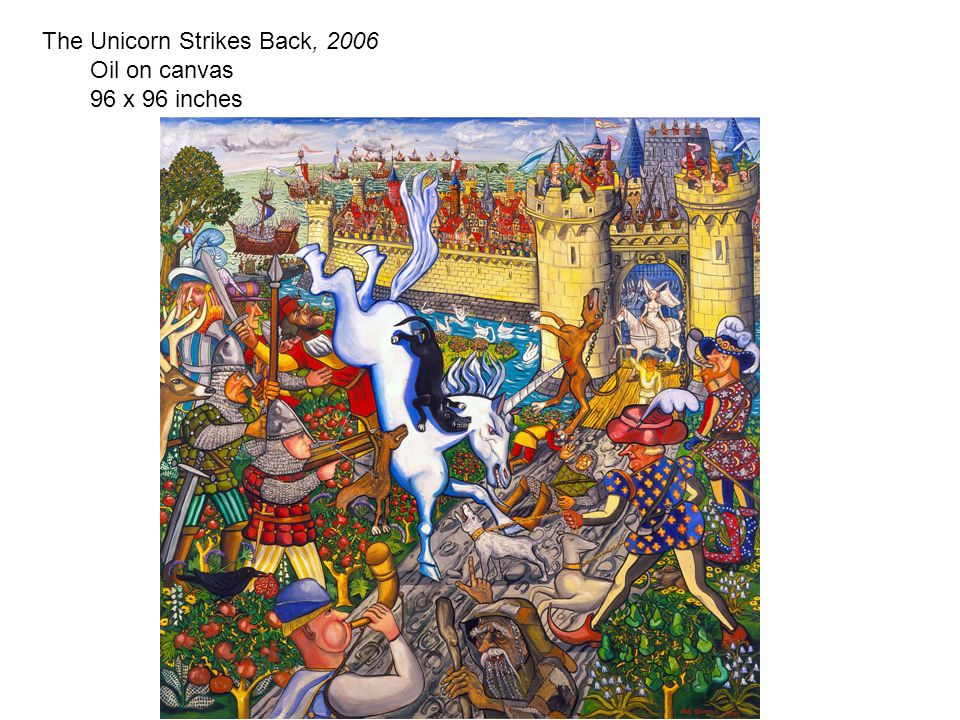 Close The Unicorn Strikes Back, 2006 Oil on canvas 96 x 96 inches
