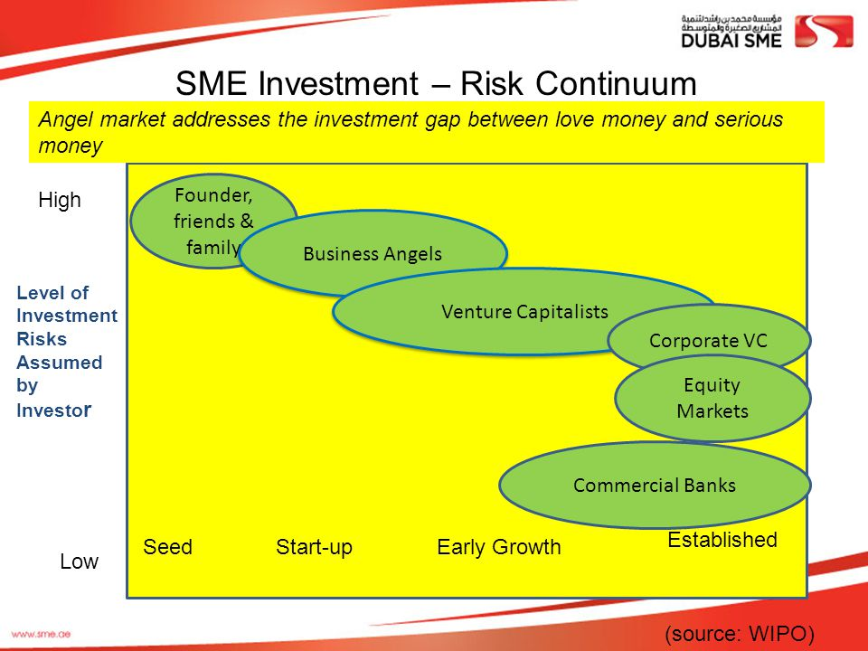 SME Investment – Risk Continuum High SeedStart-upEarly Growth Established Low Founder, friends & family Business Angels Venture Capitalists Corporate