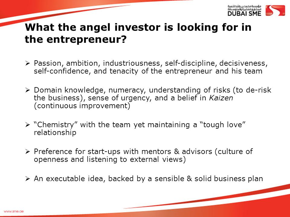 What the angel investor is looking for in the entrepreneur?  Passion, ambition, industriousness, self-discipline, decisiveness, self-confidence, and