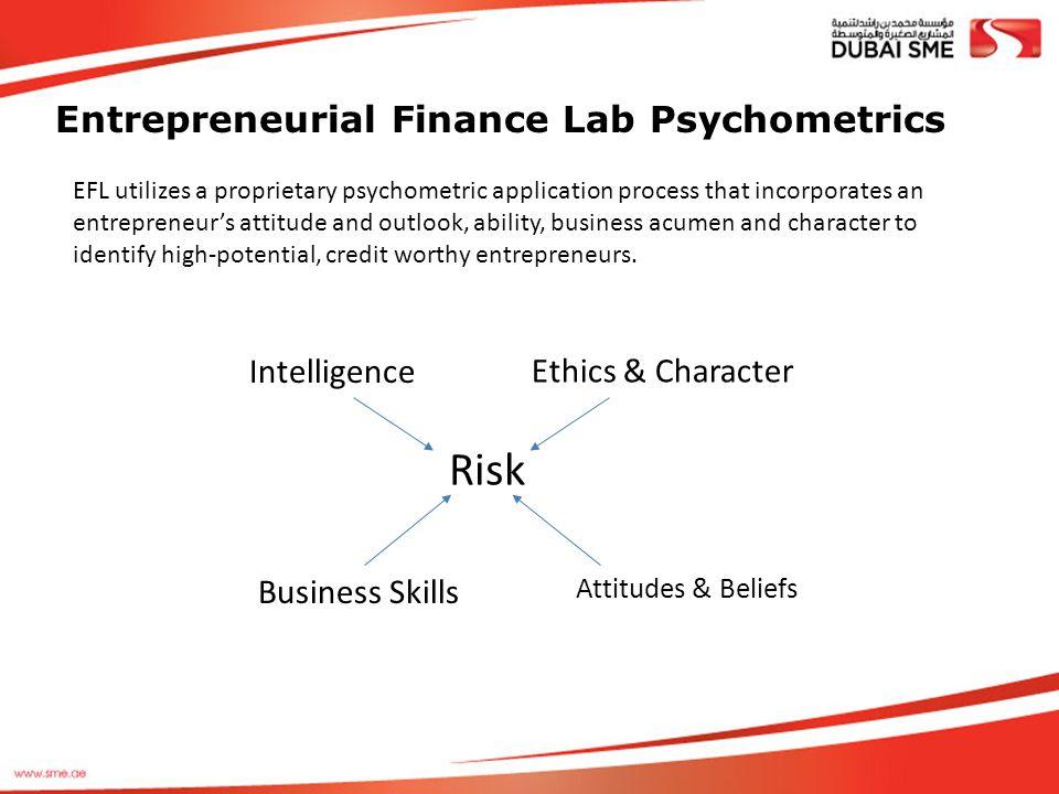 Entrepreneurial Finance Lab Psychometrics Risk EFL utilizes a proprietary psychometric application process that incorporates an entrepreneur's attitud