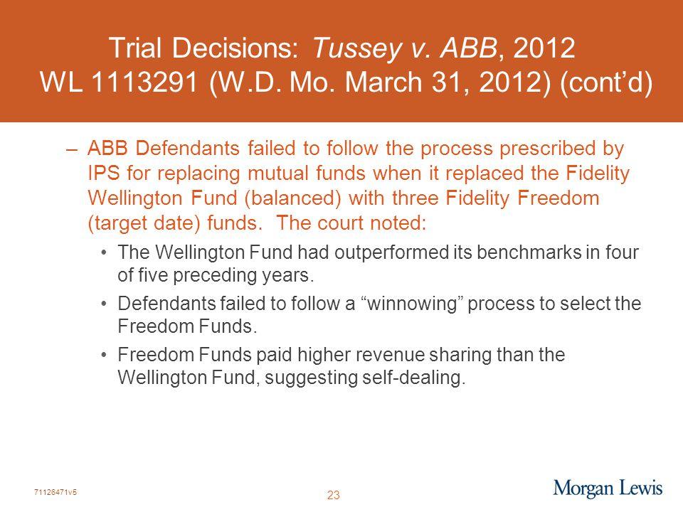 71126471v5 23 Trial Decisions: Tussey v. ABB, 2012 WL 1113291 (W.D. Mo. March 31, 2012) (cont'd) –ABB Defendants failed to follow the process prescrib