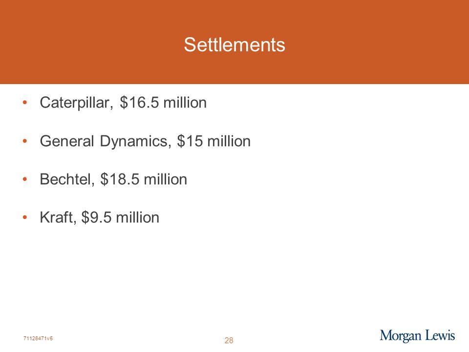 71126471v5 28 Settlements Caterpillar, $16.5 million General Dynamics, $15 million Bechtel, $18.5 million Kraft, $9.5 million