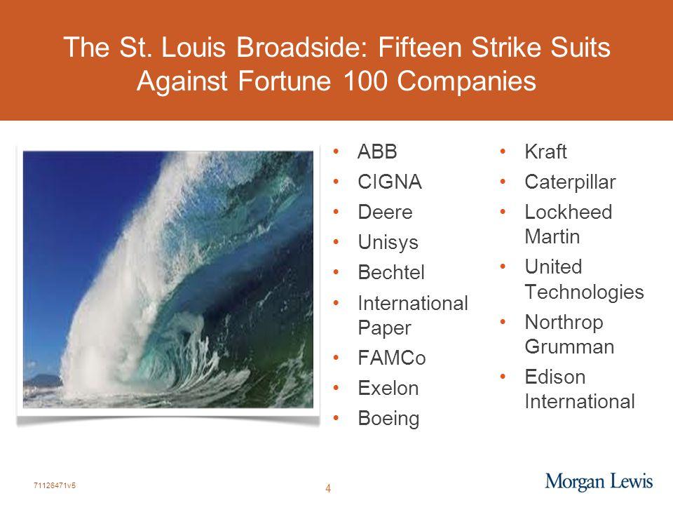 71126471v5 4 The St. Louis Broadside: Fifteen Strike Suits Against Fortune 100 Companies ABB CIGNA Deere Unisys Bechtel International Paper FAMCo Exel
