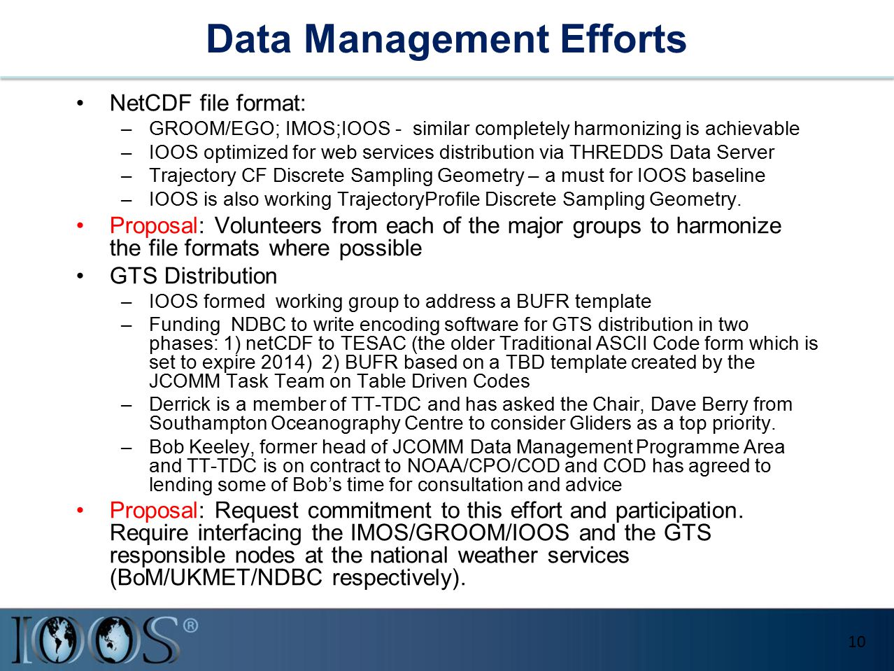 Data Management Efforts NetCDF file format: –GROOM/EGO; IMOS;IOOS - similar completely harmonizing is achievable –IOOS optimized for web services dist