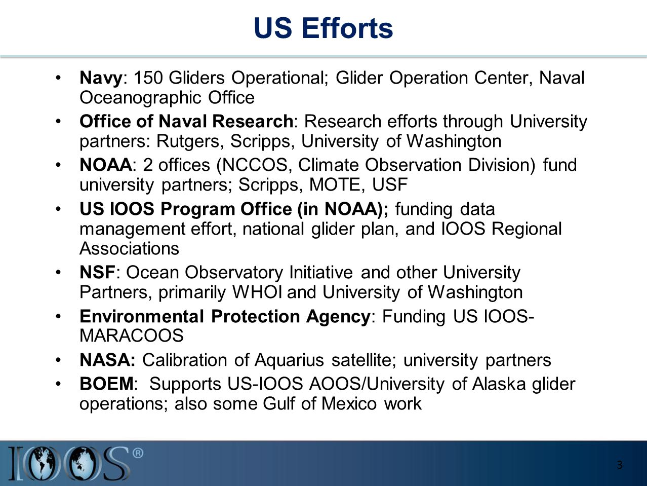 US Efforts Navy: 150 Gliders Operational; Glider Operation Center, Naval Oceanographic Office Office of Naval Research: Research efforts through Unive