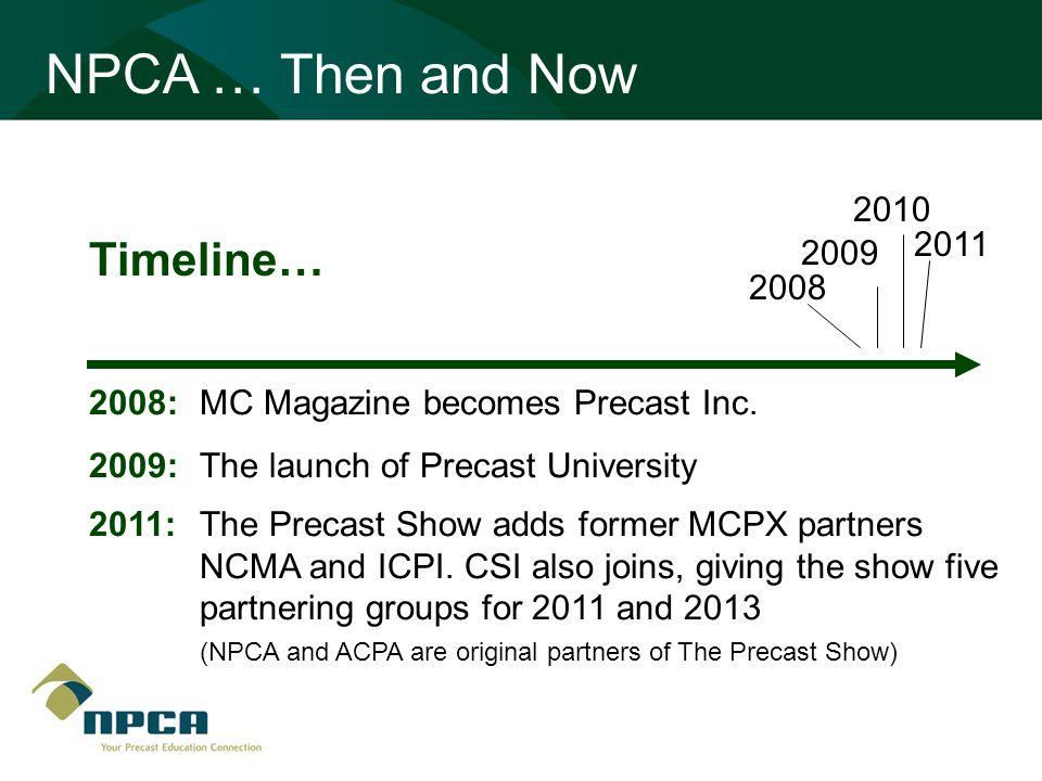 Timeline… 2008 2009 2010 NPCA … Then and Now 2008: MC Magazine becomes Precast Inc. 2009: The launch of Precast University 2011:The Precast Show adds