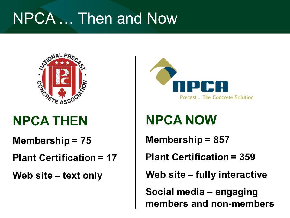 NPCA THEN Membership = 75 Plant Certification = 17 Web site – text only NPCA … Then and Now NPCA NOW Membership = 857 Plant Certification = 359 Web si