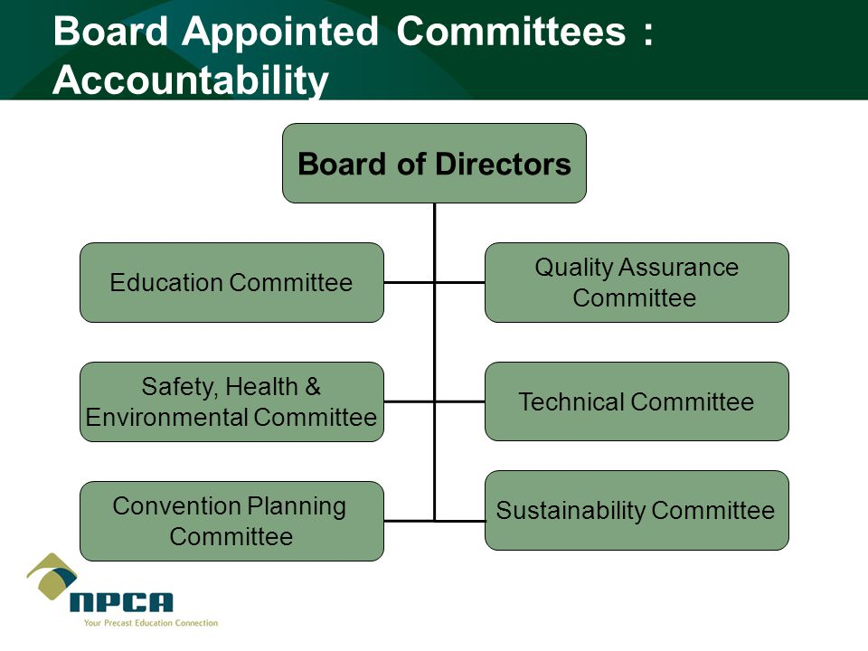 Board Appointed Committees : Accountability Board of Directors Education Committee Quality Assurance Committee Safety, Health & Environmental Committee Technical Committee Convention Planning Committee Sustainability Committee