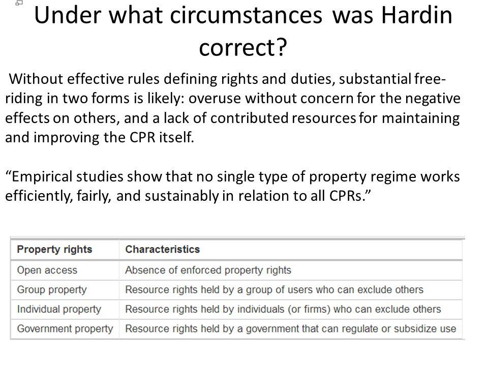 Under what circumstances was Hardin correct.