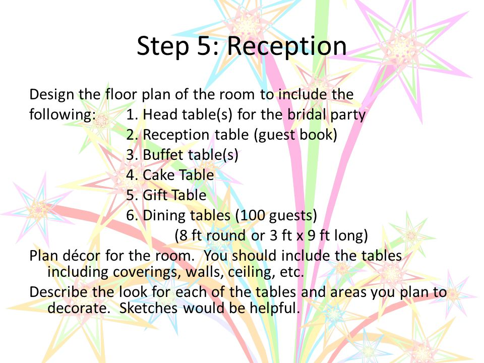 Step 5: Reception Design the floor plan of the room to include the following:1.
