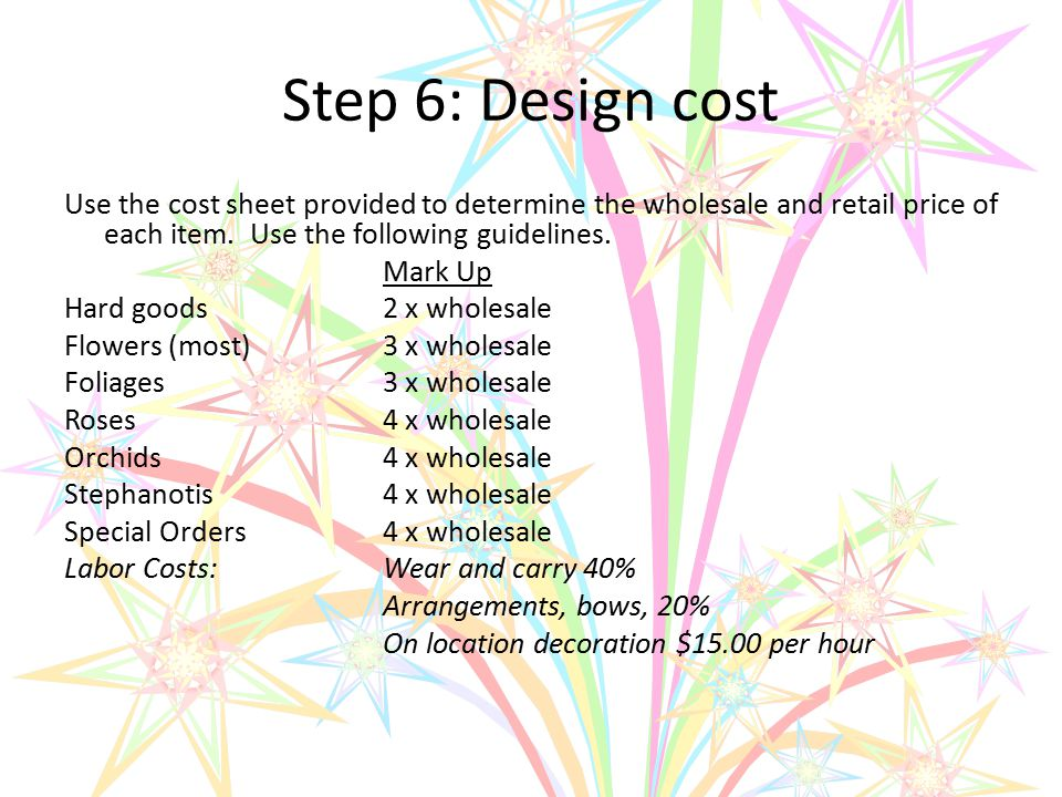 Step 6: Design cost Use the cost sheet provided to determine the wholesale and retail price of each item. Use the following guidelines. Mark Up Hard g