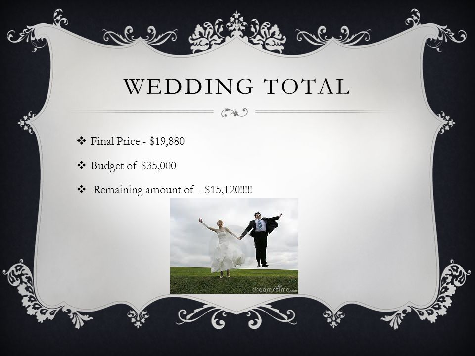 WEDDING TOTAL  Final Price - $19,880  Budget of $35,000  Remaining amount of - $15,120!!!!!