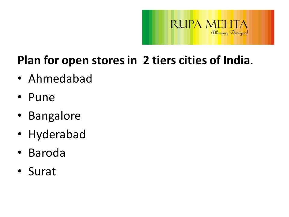 Plan for open stores in 2 tiers cities of India. Ahmedabad Pune Bangalore Hyderabad Baroda Surat