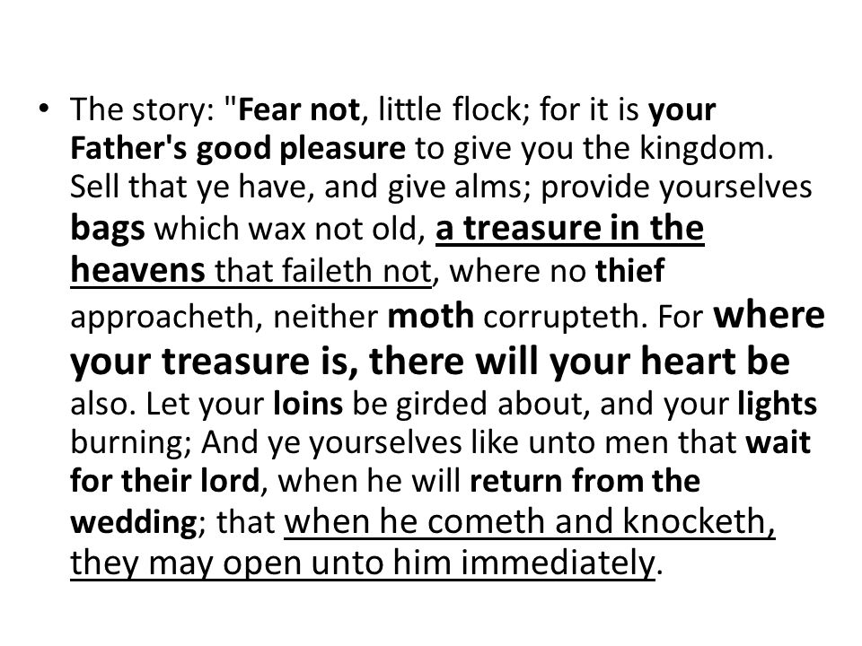 The story: Fear not, little flock; for it is your Father s good pleasure to give you the kingdom.