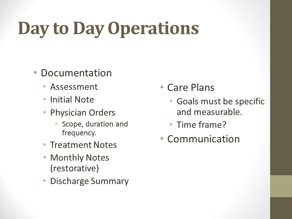 Day to Day Operations Documentation Assessment Initial Note Physician Orders Scope, duration and frequency.