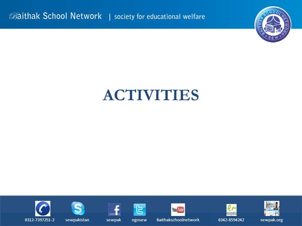 ACTIVITIES 0312-7397251-2 sewpakistan sewpak ngosew Baithakschoolnetwork 0342-8594242 sewpak.org