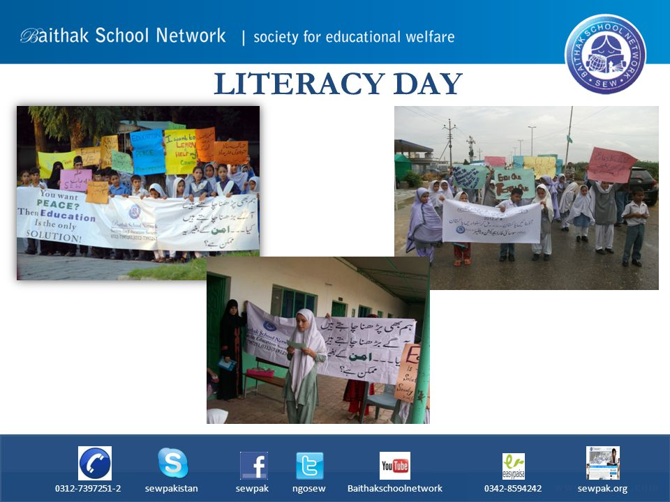 LITERACY DAY 0312-7397251-2 sewpakistan sewpak ngosew Baithakschoolnetwork 0342-8594242 sewpak.org