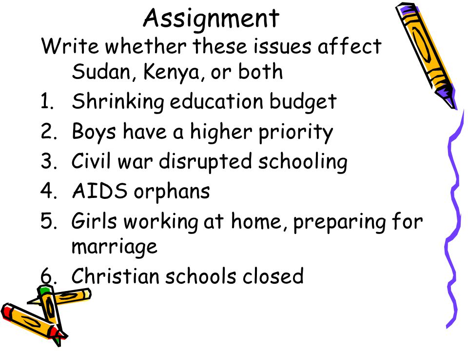Assignment Write whether these issues affect Sudan, Kenya, or both 1.Shrinking education budget 2.Boys have a higher priority 3.Civil war disrupted sc
