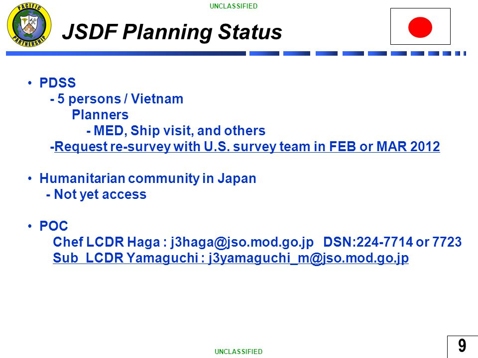 9 UNCLASSIFIED JSDF Planning Status PDSS - 5 persons / Vietnam Planners - MED, Ship visit, and others -Request re-survey with U.S.