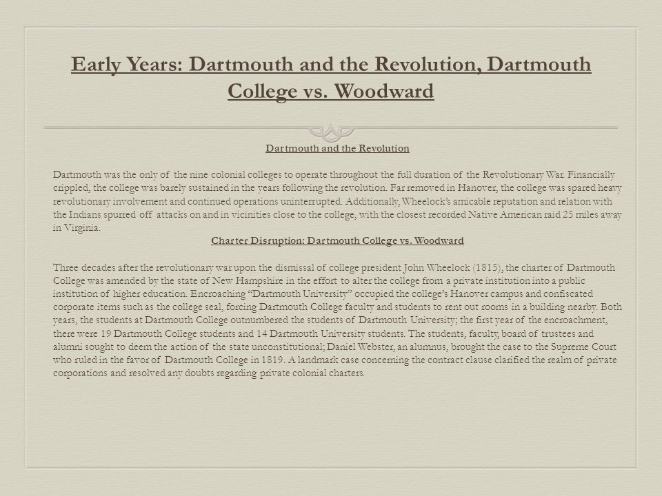 Early Years: Dartmouth and the Revolution, Dartmouth College vs.