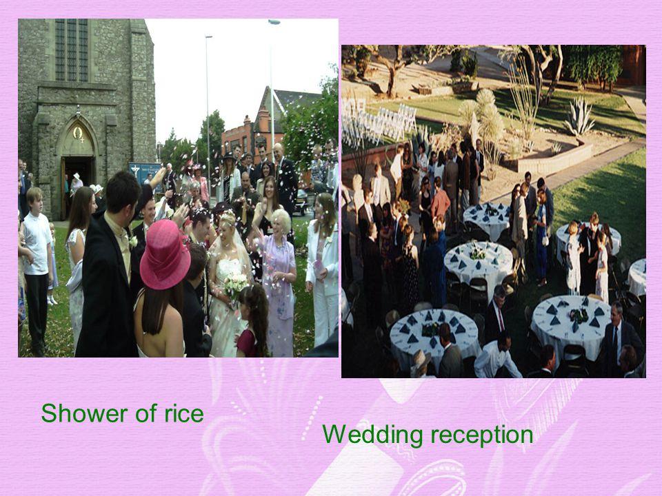 Shower of rice Wedding reception