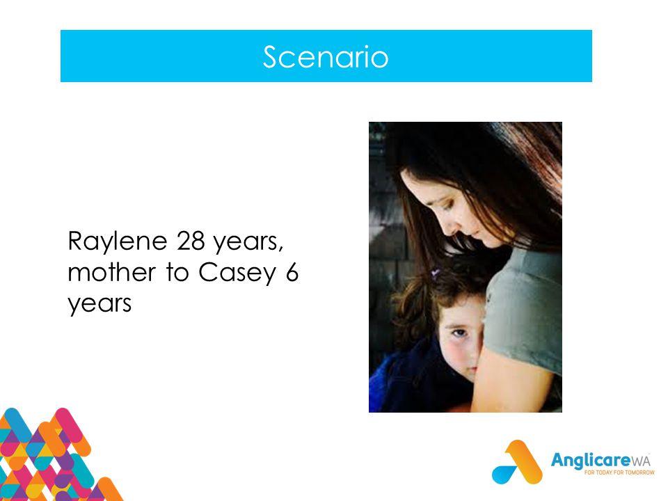 Scenario Raylene 28 years, mother to Casey 6 years