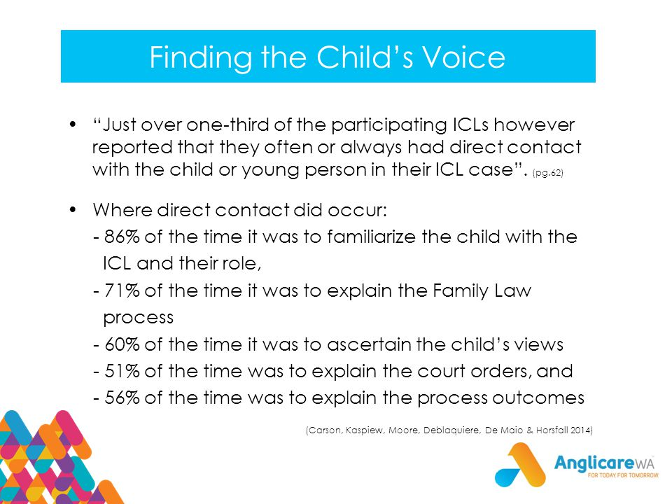 Finding the Child's Voice Just over one-third of the participating ICLs however reported that they often or always had direct contact with the child or young person in their ICL case .