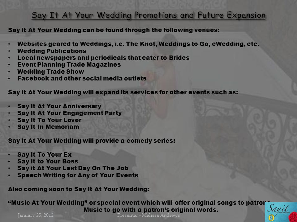 Say It At Your Wedding can be found through the following venues: Websites geared to Weddings, i.e. The Knot, Weddings to Go, eWedding, etc. Wedding P
