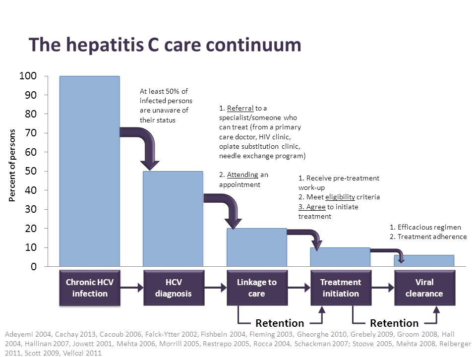 The hepatitis C care continuum Adeyemi 2004, Cachay 2013, Cacoub 2006, Falck-Ytter 2002, Fishbein 2004, Fleming 2003, Gheorghe 2010, Grebely 2009, Gro
