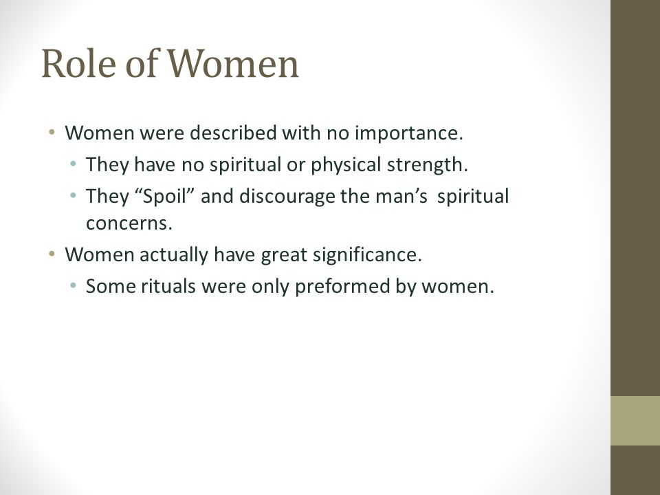 Role of Women Women were described with no importance.