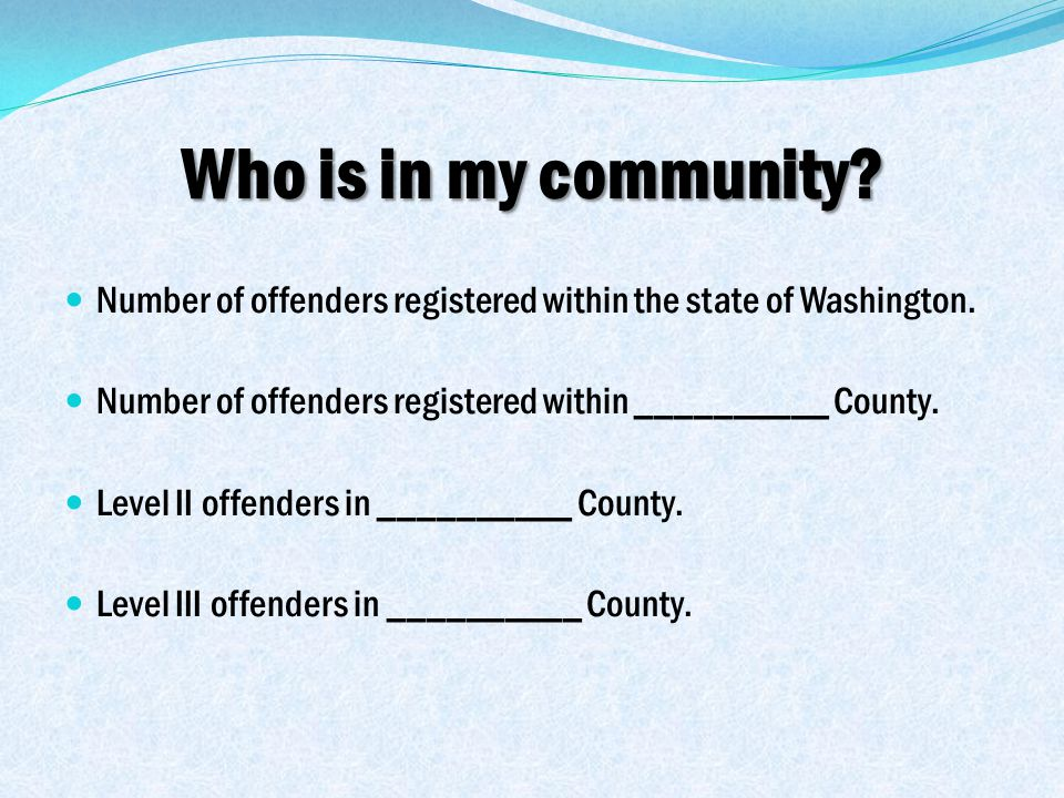 Who is in my community. Number of offenders registered within the state of Washington.