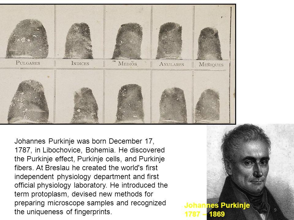 9 Johannes Purkinje was born December 17, 1787, in Libochovice, Bohemia.