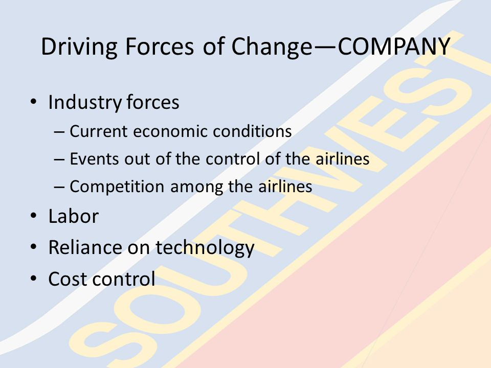 Driving Forces of Change—INDUSTRY Current economic conditions Events out of the control of the airlines – Natural disasters – Terrorist attacks – Regulation Competition among airlines