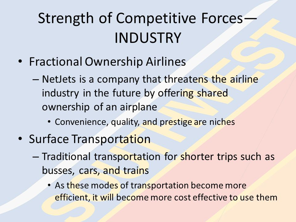 Driving Forces of Change—COMPANY Industry forces – Current economic conditions – Events out of the control of the airlines – Competition among the airlines Labor Reliance on technology Cost control