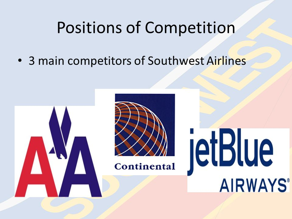 Strength of Competitive Forces— COMPANY Southwest Airlines competes domestically with a number of competitors in the airline industry – AMR (American Airlines, American Eagle, AmericanConnection), Delta Air Lines, United, and others Southwest Airlines competes mainly on the basis of low cost and outstanding customer service – Due to Southwest Airlines' fuel derivative instruments, their low cost strategy is difficult to imitate – Southwest Airlines' outstanding customer service is easily imitated Most of Southwest Airlines' competitors use a hub-and- spoke route system as opposed to Southwest Airlines' point-to-point route system